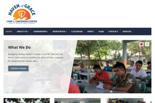 Haven of Grace Website Screenshot